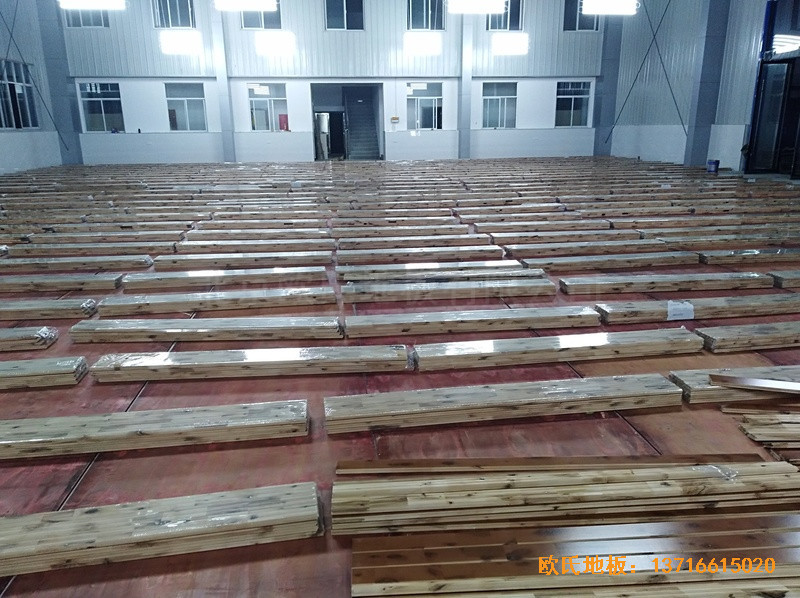 安徽怀宁县新明源电力公司羽毛球馆体育地板施工案例1