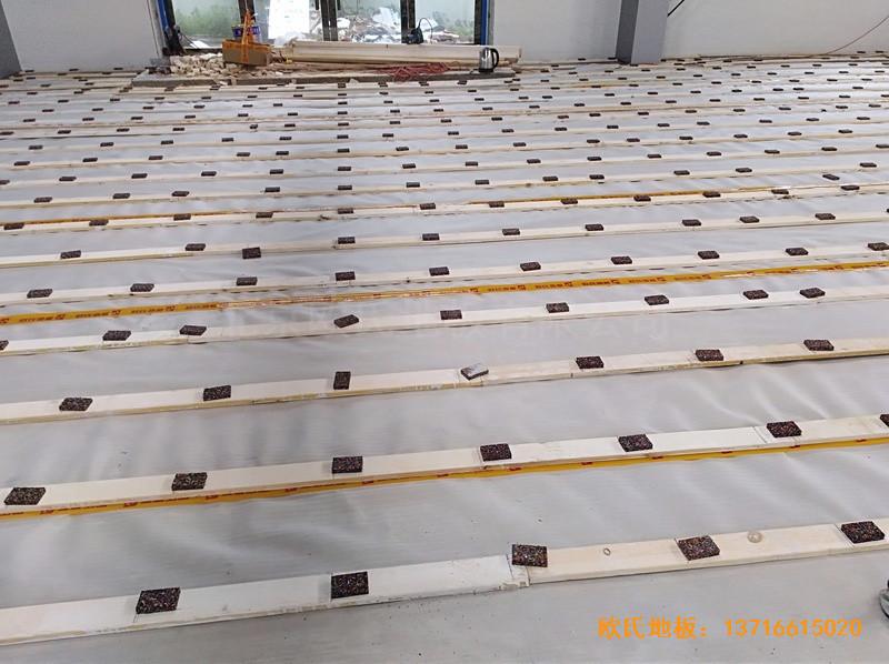安徽怀宁县新明源电力公司羽毛球馆体育地板施工案例3