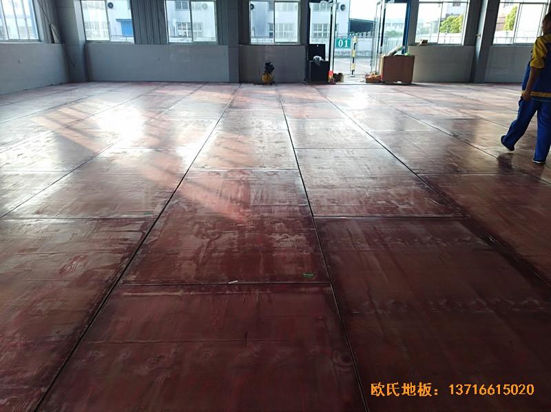安徽怀宁县新明源电力公司羽毛球馆体育地板施工案例4