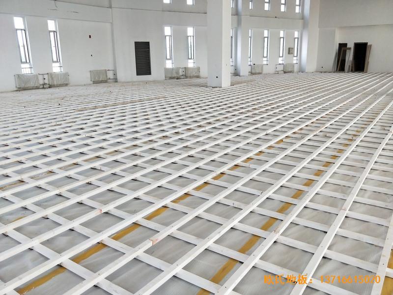 北京房山长阳小学篮球训练馆体育木地板施工案例