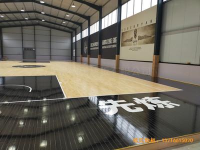 山东北环路平安行驾校篮球馆体育木地板施工案例